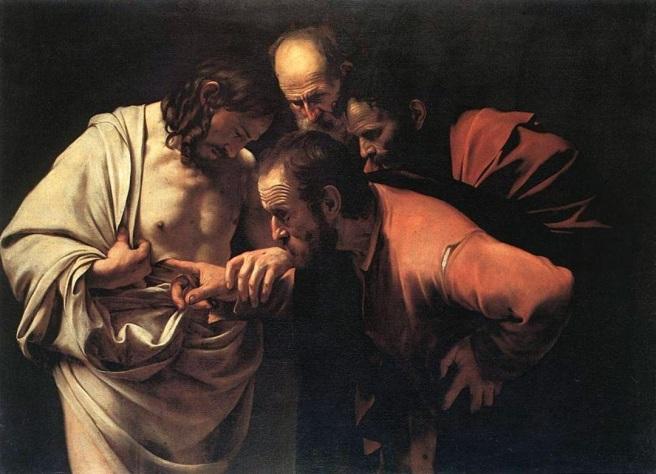 Santo Tomás introduce la mano en el costado de Jesús_ Caravaggio (1601)